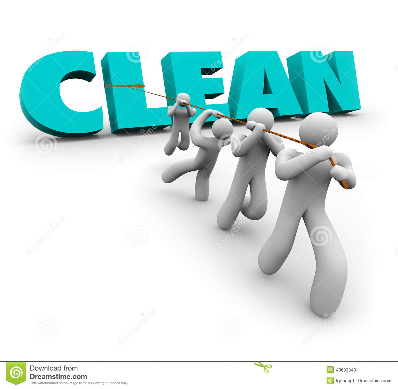 Clean 3d Word Pulled Up Team People Working Together Cleaners Stock ...