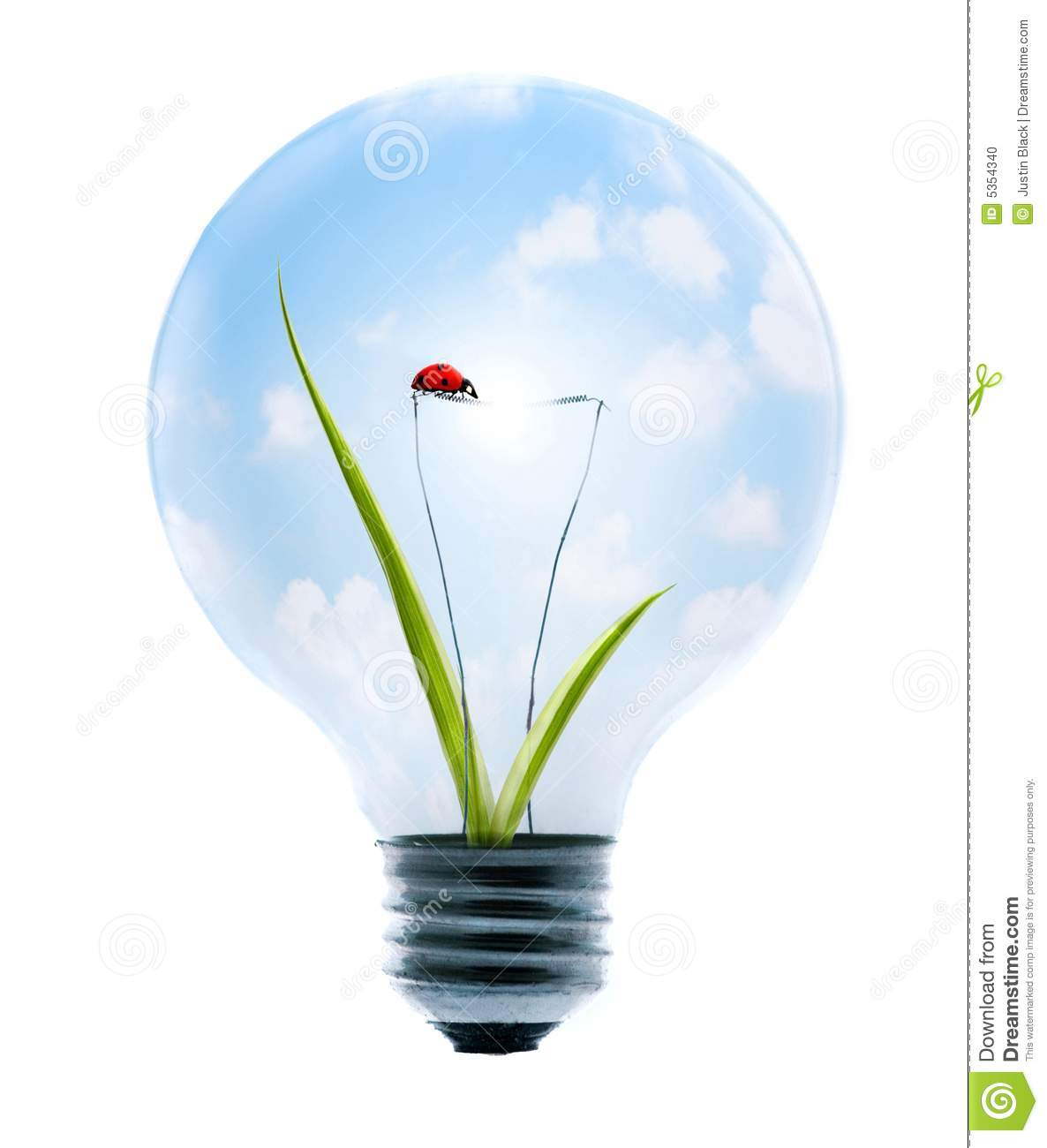 Clean energy, a light bulb with a bright sky, grass, and lady-bug.