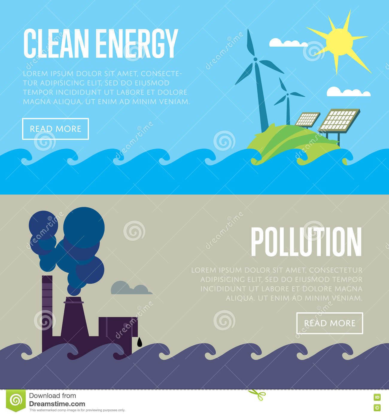 Clean Energy And Air Pollution Banners Stock Vector