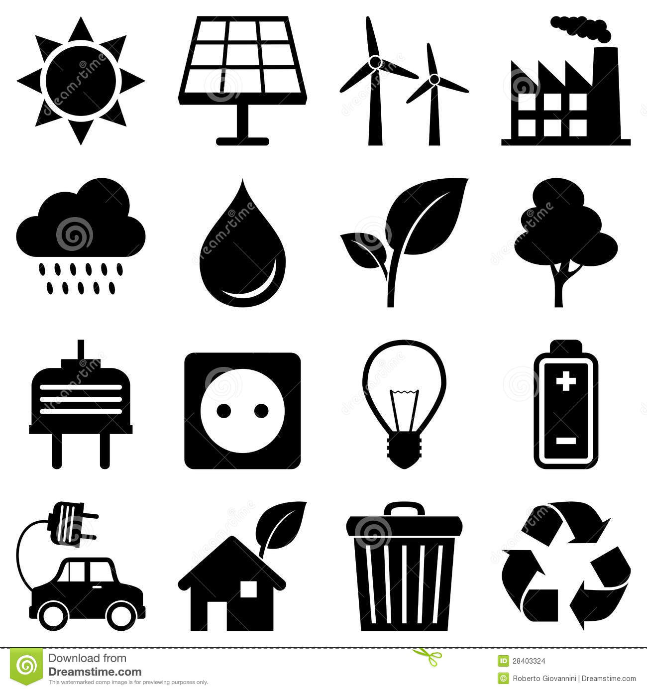 Clean Energy Environment Icons Stock Images Image 28403324