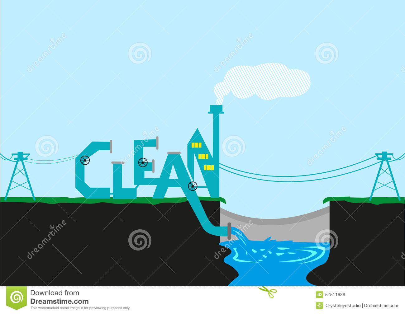 Clean Energy And Factory For Climate Plan Stock Vector - Image ...