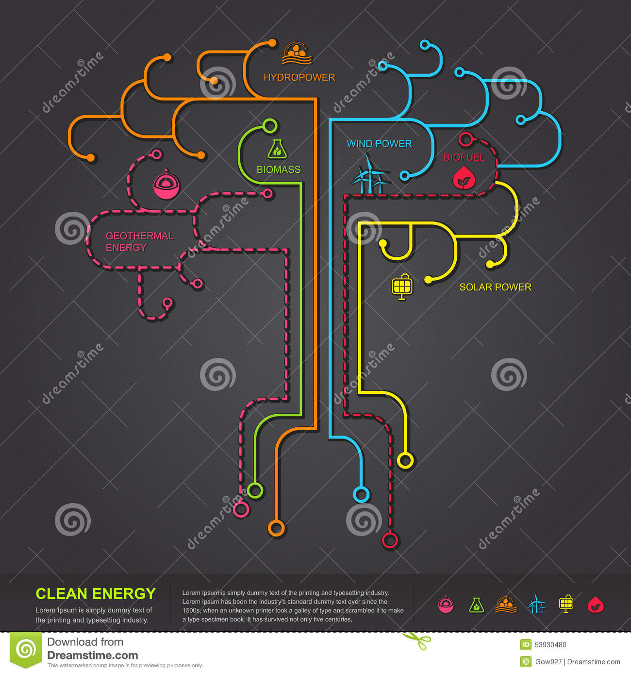clean energy flat infographic diagram template design in. Black Bedroom Furniture Sets. Home Design Ideas