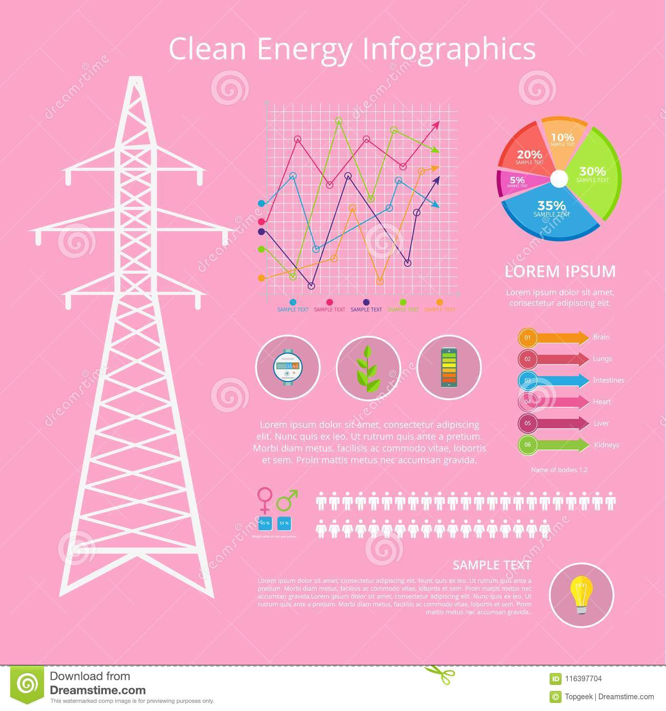 Clean Energy Infographic Set Vector Illustration Stock
