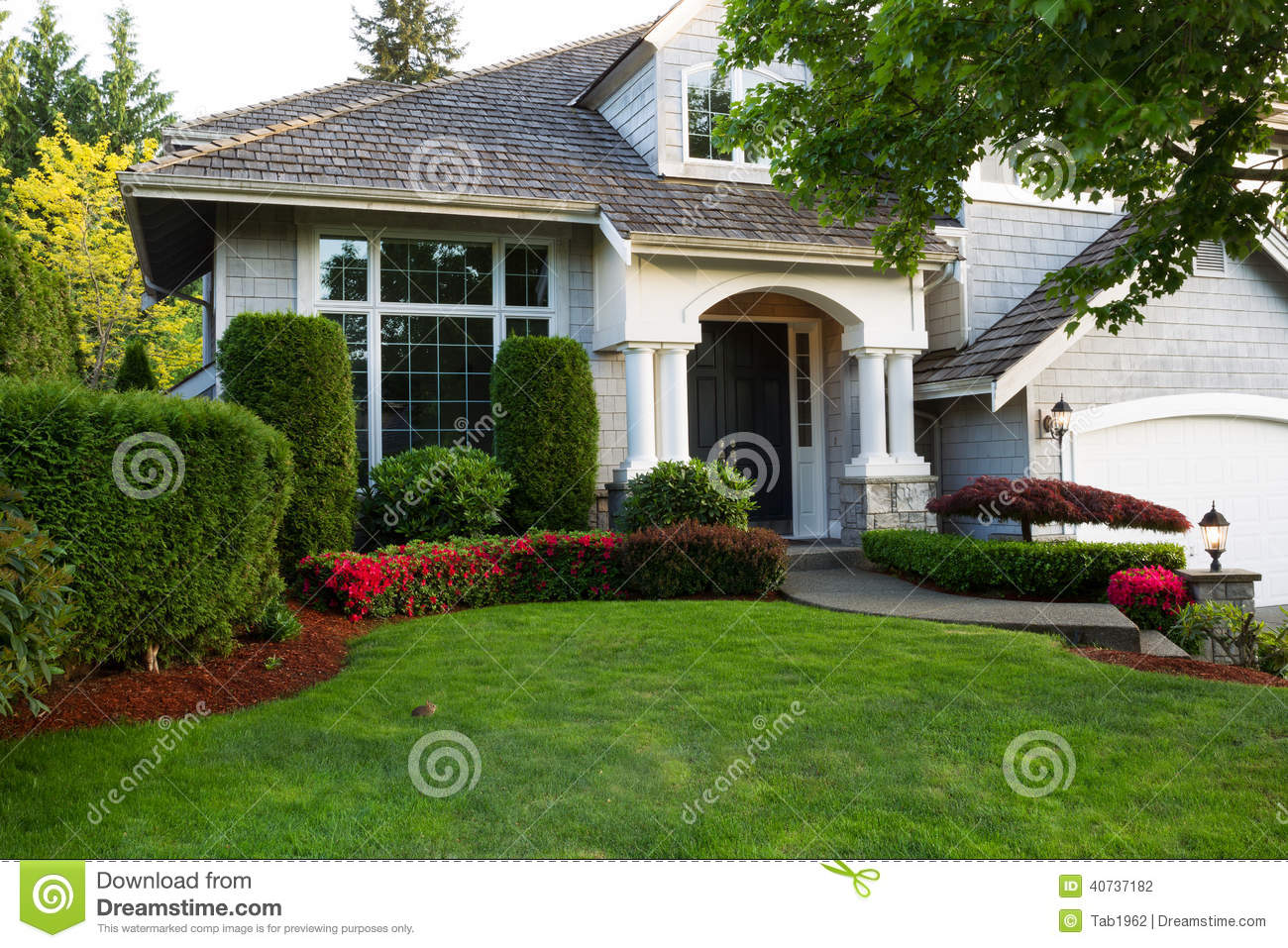 Clean Exterior Home During Late Spring Season Stock Photo Image 40737182