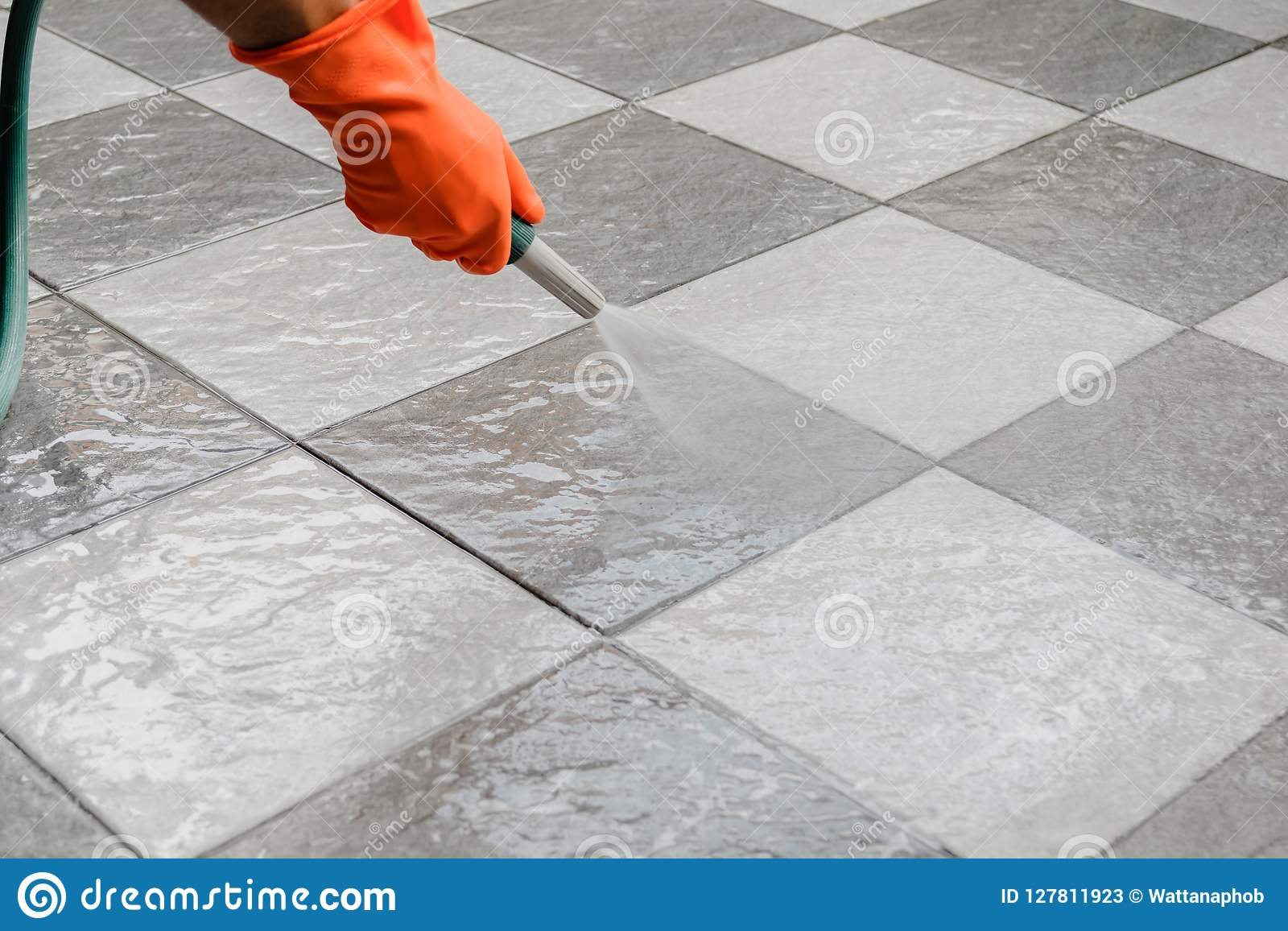 Clean The Floor Stock Image Image Of Concrete Cleaner 127811923