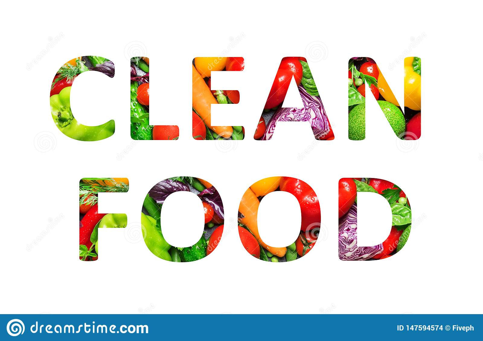 Clean food, multi-colored text cut out of vegetables photo, the inscription on white background