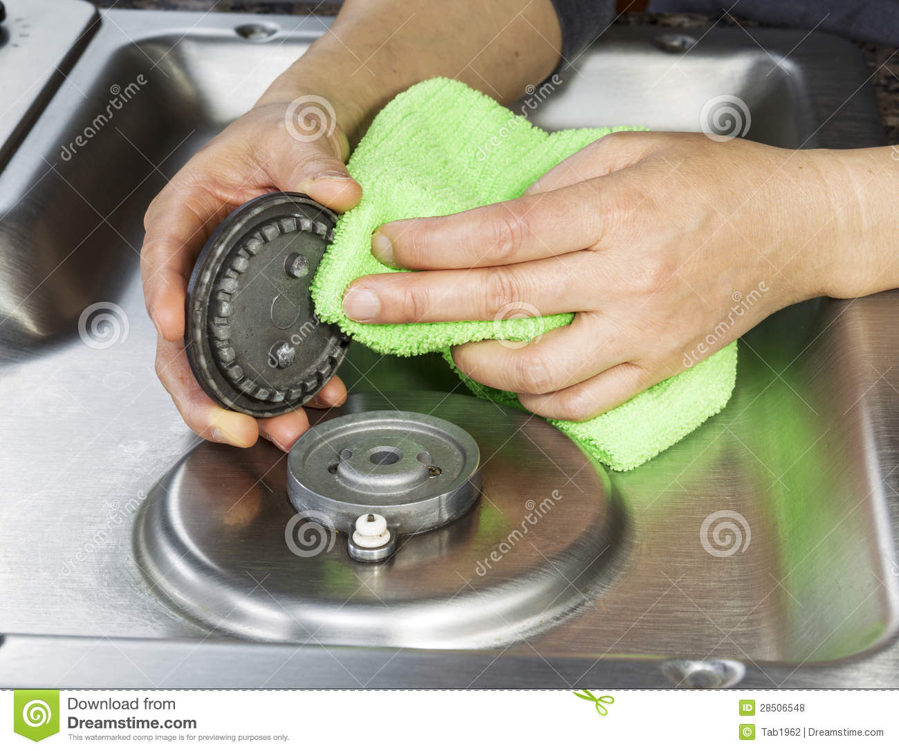 Clean gas stove top and burner covers stock photo image How to clean top of oven