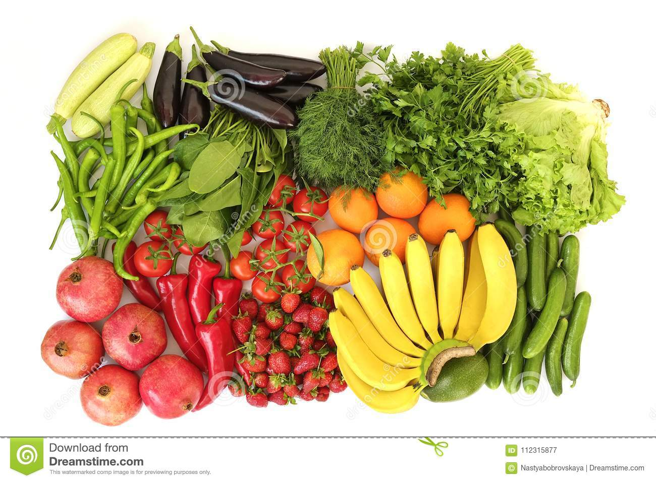 Beautiful flat lay composition with different kinds of mixed fresh fruits, vegetables and herbs assortment on white table top back