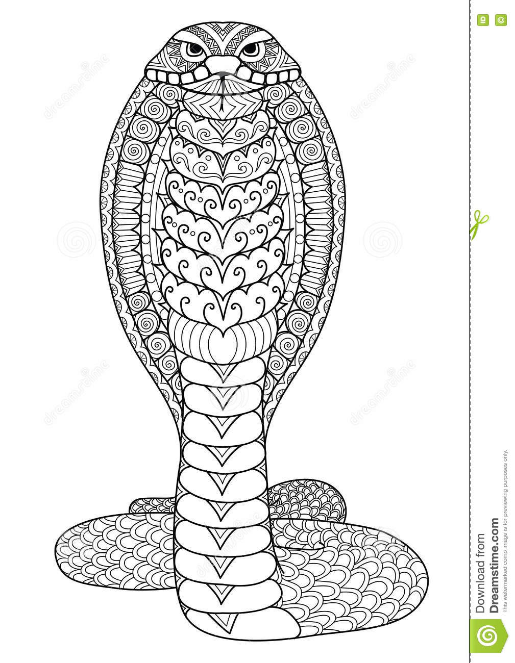 Download Clean Lines Doodle Art Design Of Cobra Snake For Coloring Book T Shirt