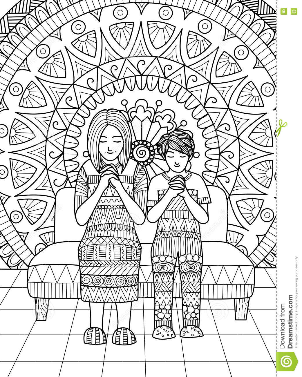 The coloring book clean - Clean Lines Doodle Design Of Mom And Her Son Praying Together For Adult Coloring
