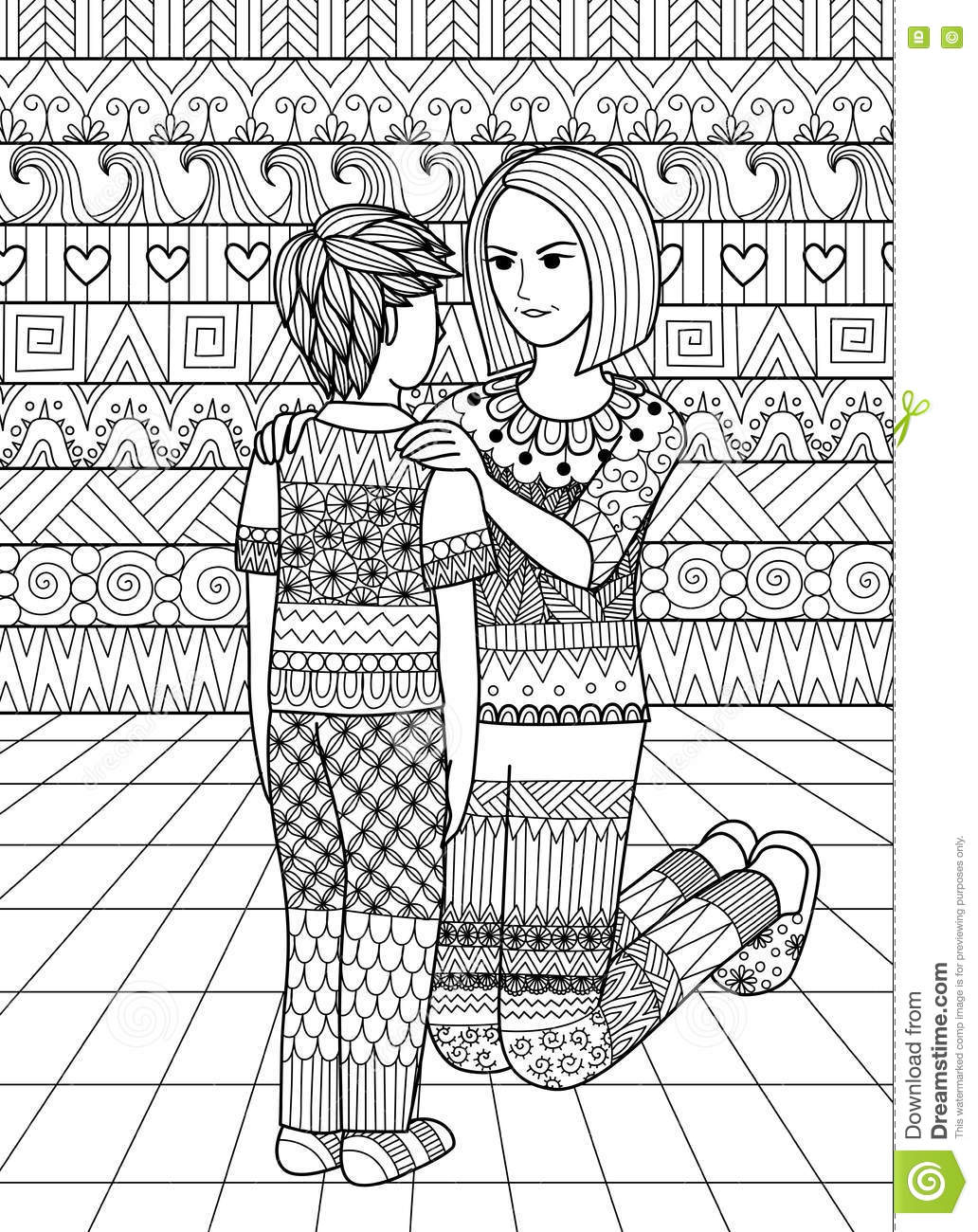 The coloring book clean - Clean Lines Doodle Design Of Mom Saying No To Her Son Design For Adult Coloring