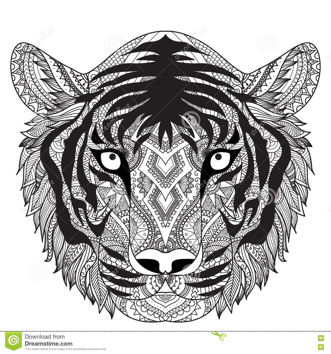 Clean Lines Doodle Design Of Tiger Face For T Shirt Graphic Tattoo