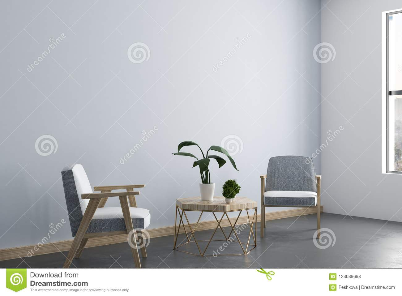 Clean Living Room Interior Stock Illustration Illustration