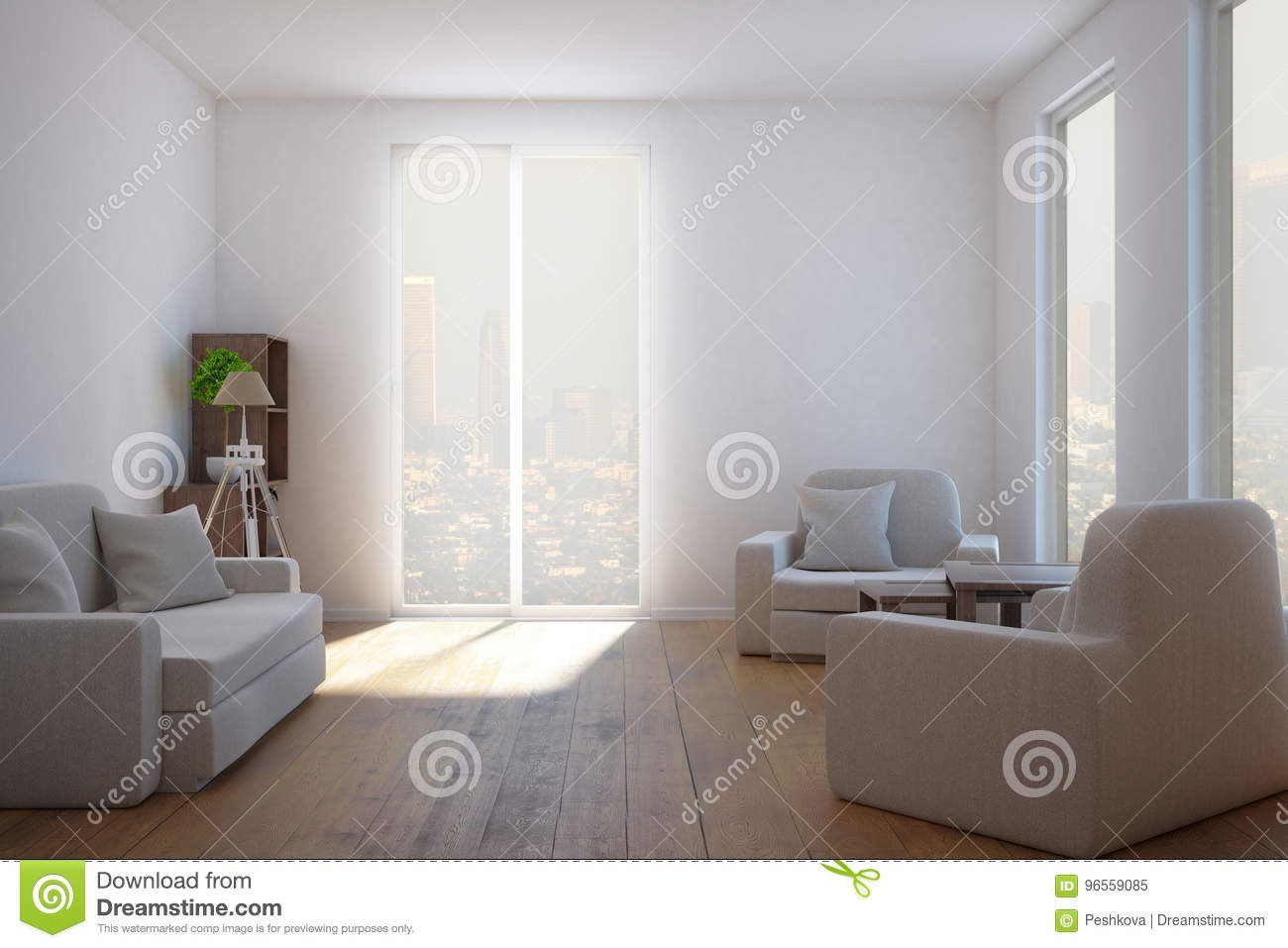 Clean living room stock illustration. Illustration of comfortable ...