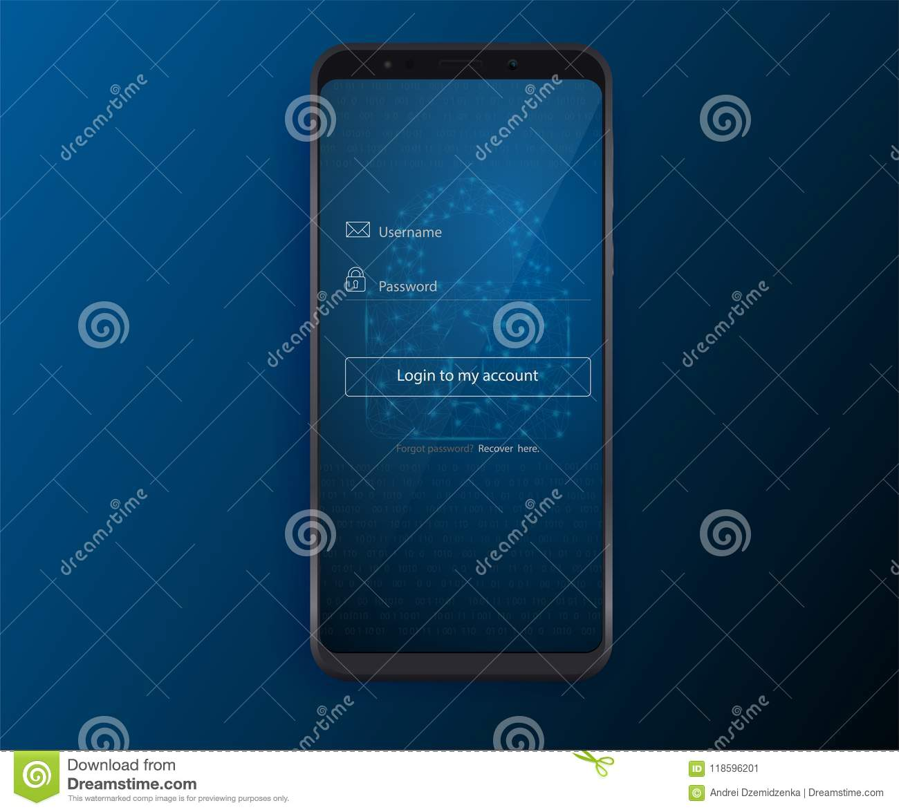 Clean Mobile UI Design Concept. Login Application with Password Form Window. Flat Web Icons. Vector