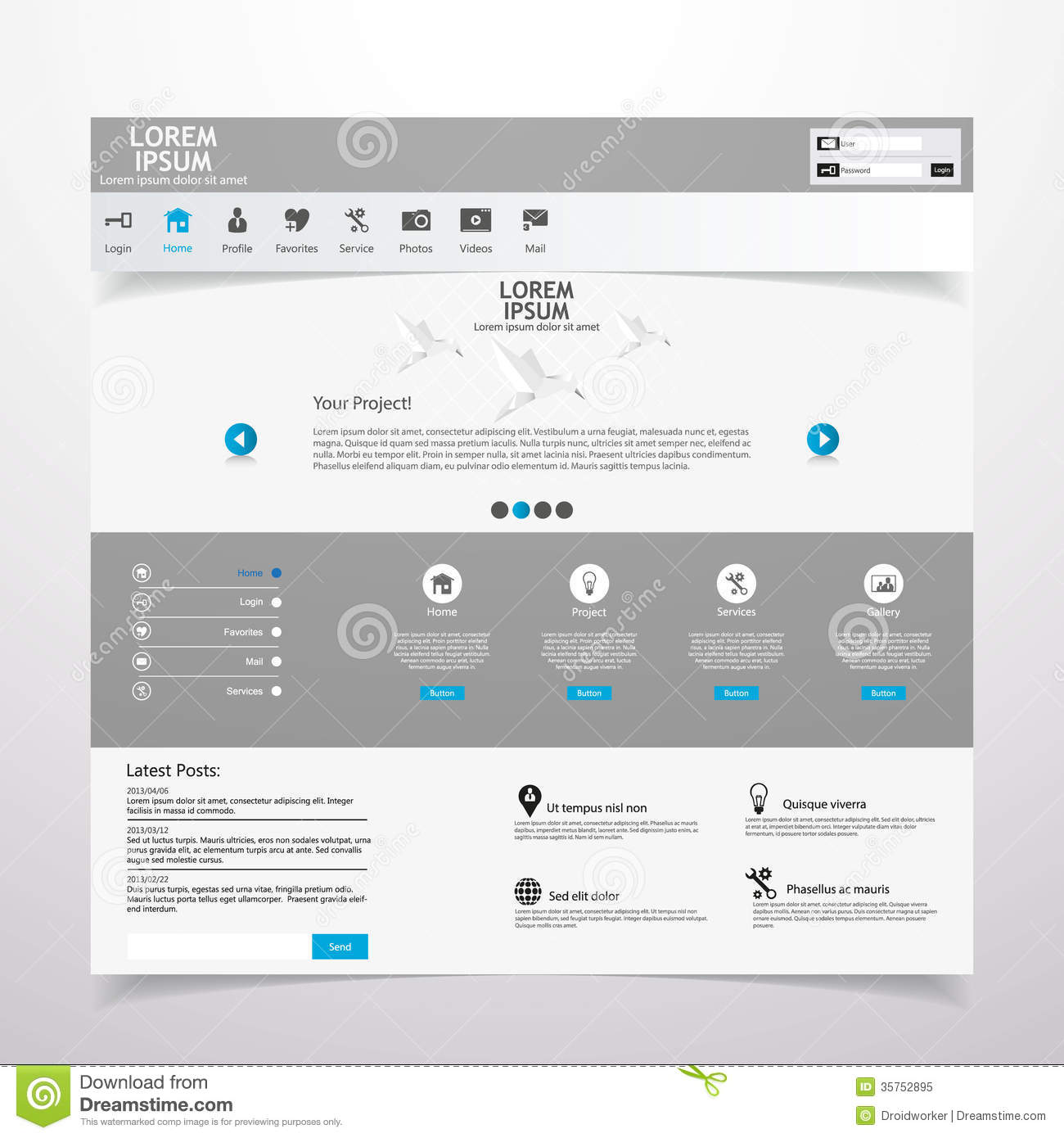 Clean Modern Website Template Royalty Free Stock Photo