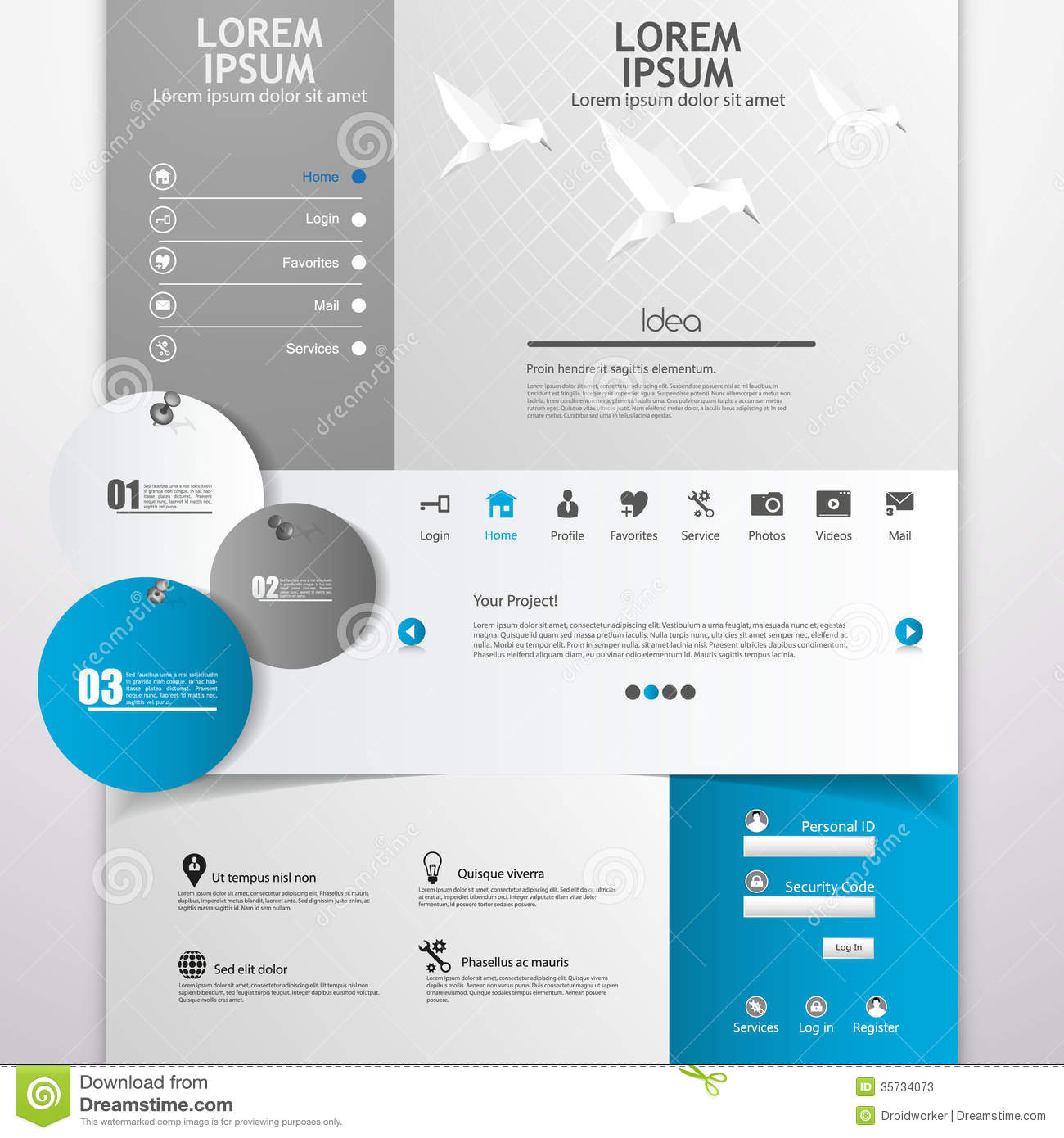 clean modern website template in editable vector format with origami