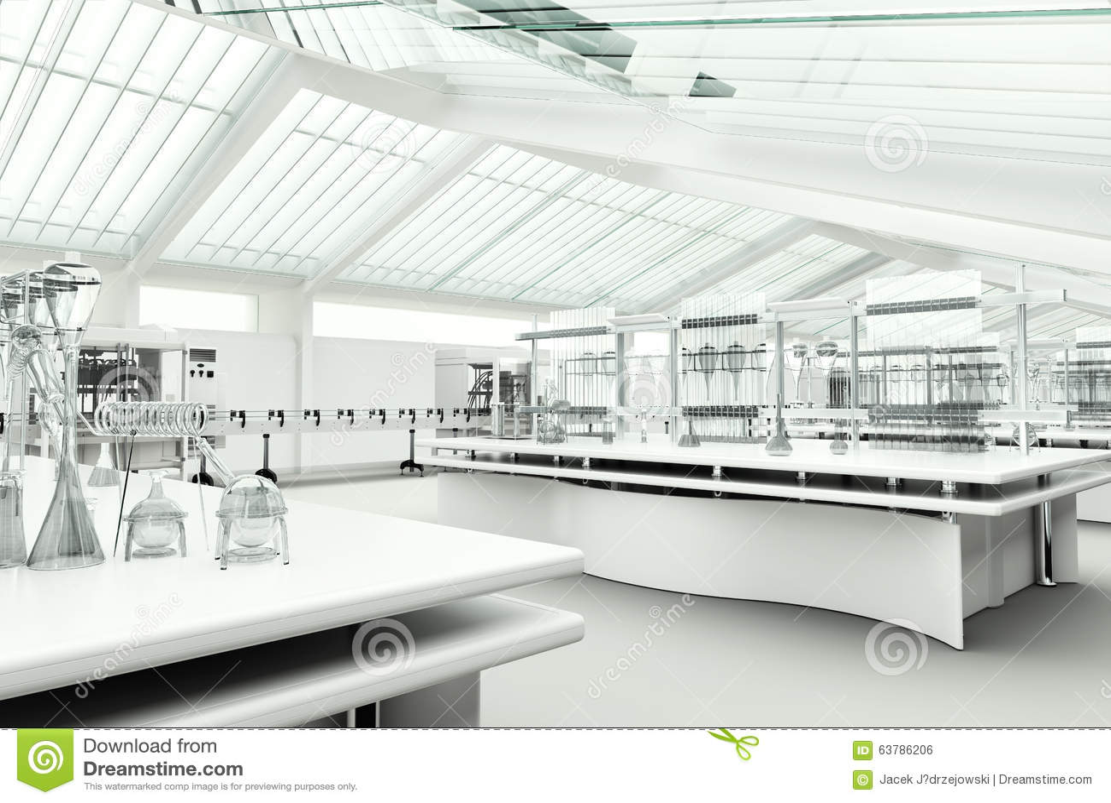 Clean Modern White Laboratory Interior Stock Photo Image