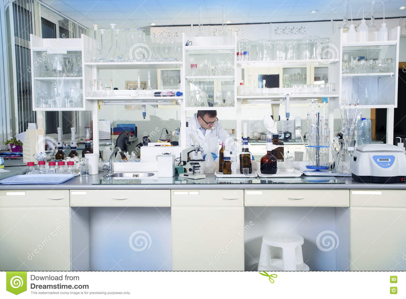 Clean modern white medical or chemical laboratory for Modern cleaning concept