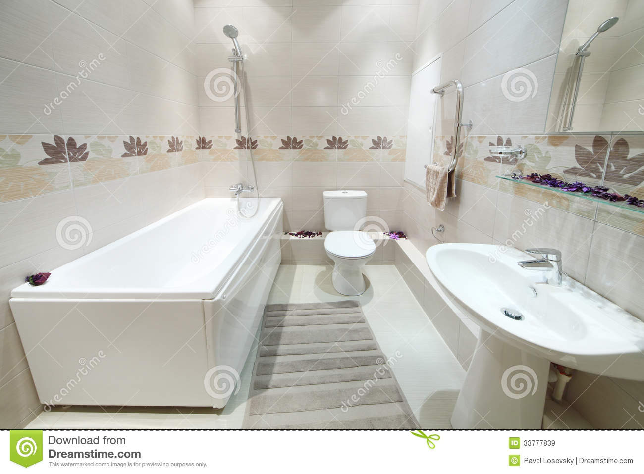 Clean And New Bathroom With Toilet With Tiles On Walls Stock Image ...
