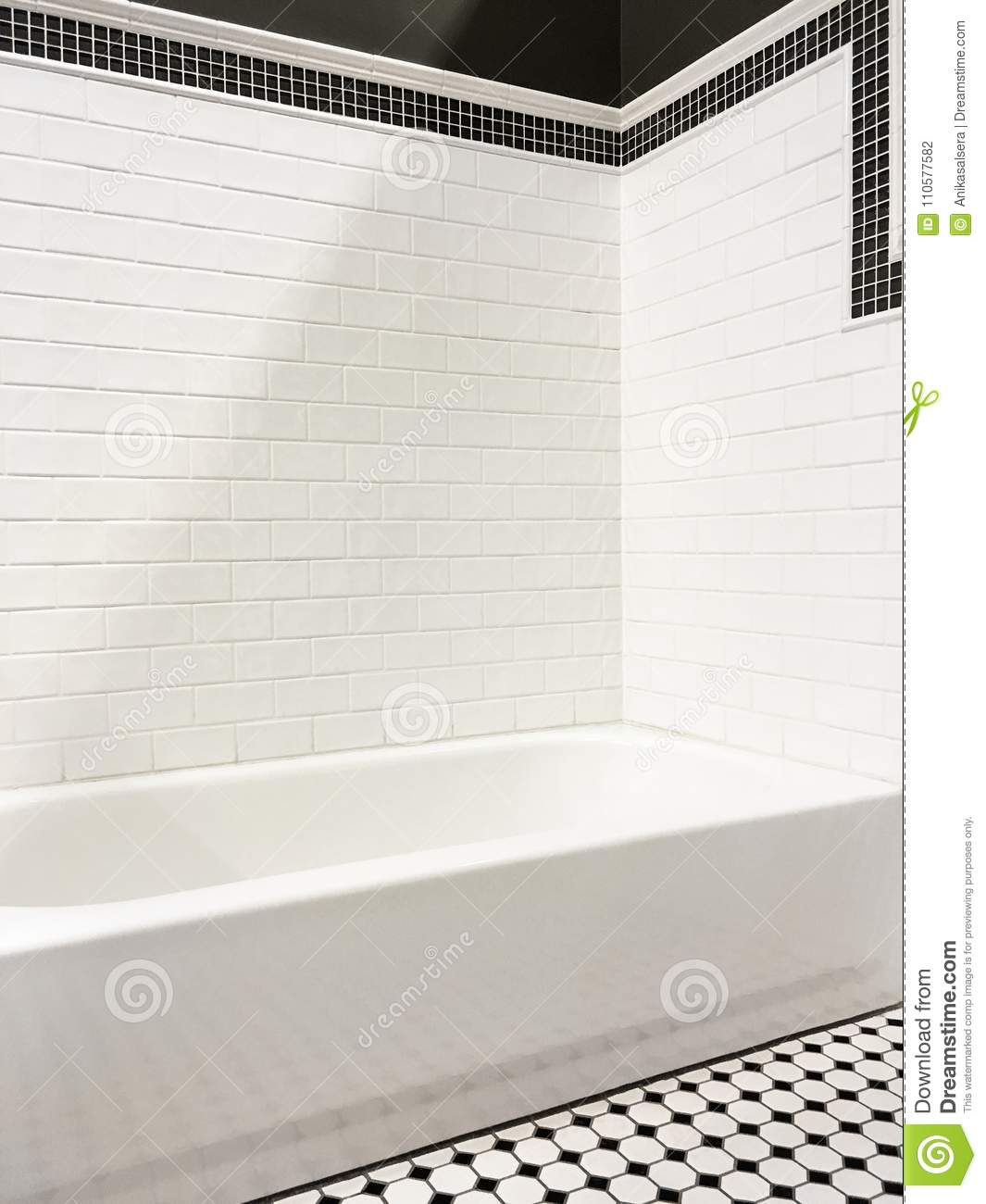 New Modern Bathroom With White Tile Walls Stock Photo - Image of ...