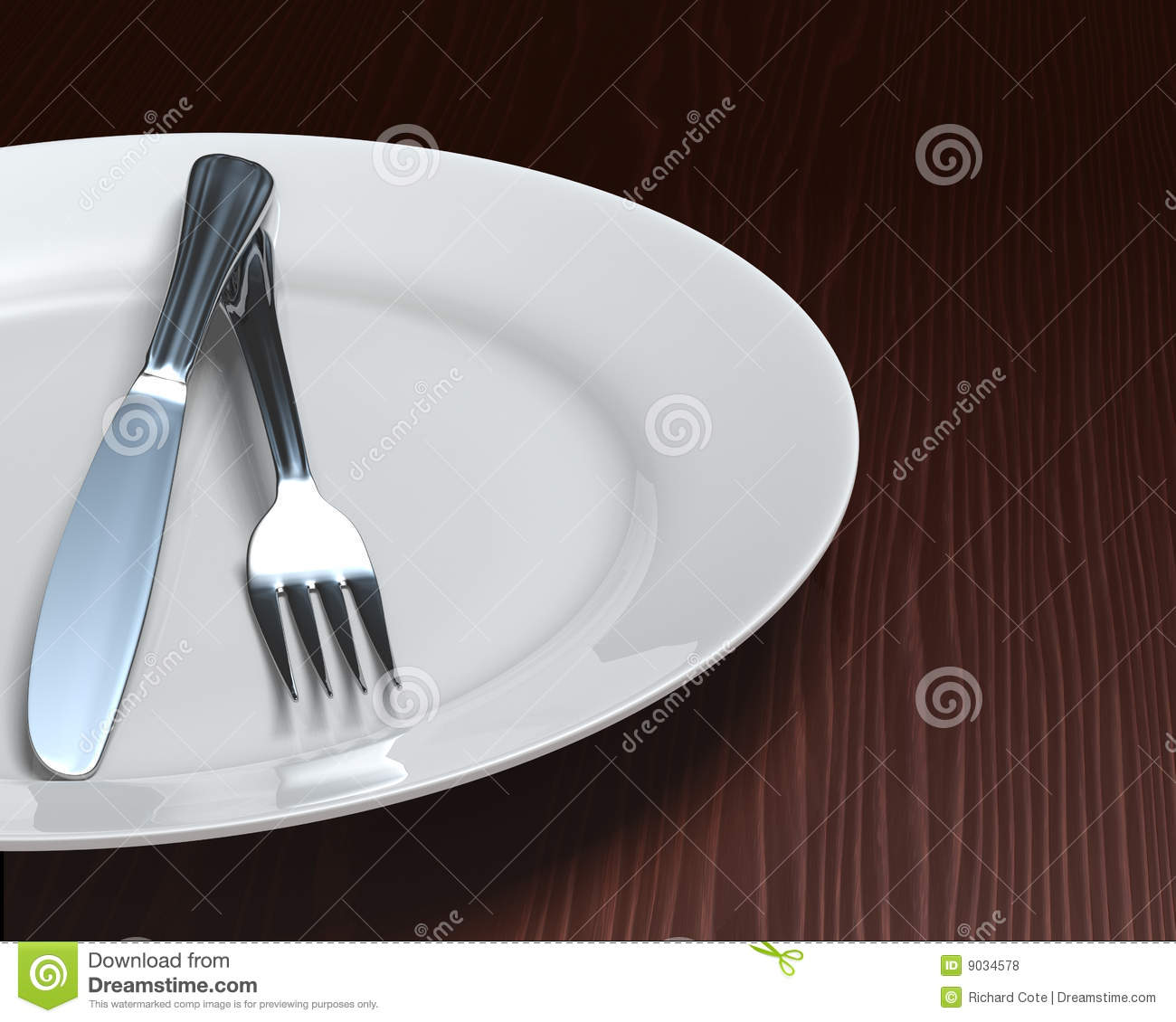 Clean Plate Amp Cutlery On Dark Woodgrain Table Royalty Free