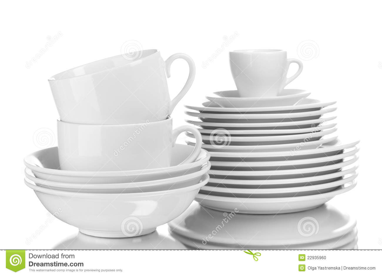 Clean Plates And Cups Stock Photo Image Of Dinnerware