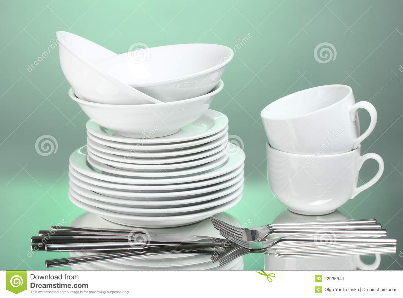 Clean Plates Cups And Cutlery Stock Image Image 22935941