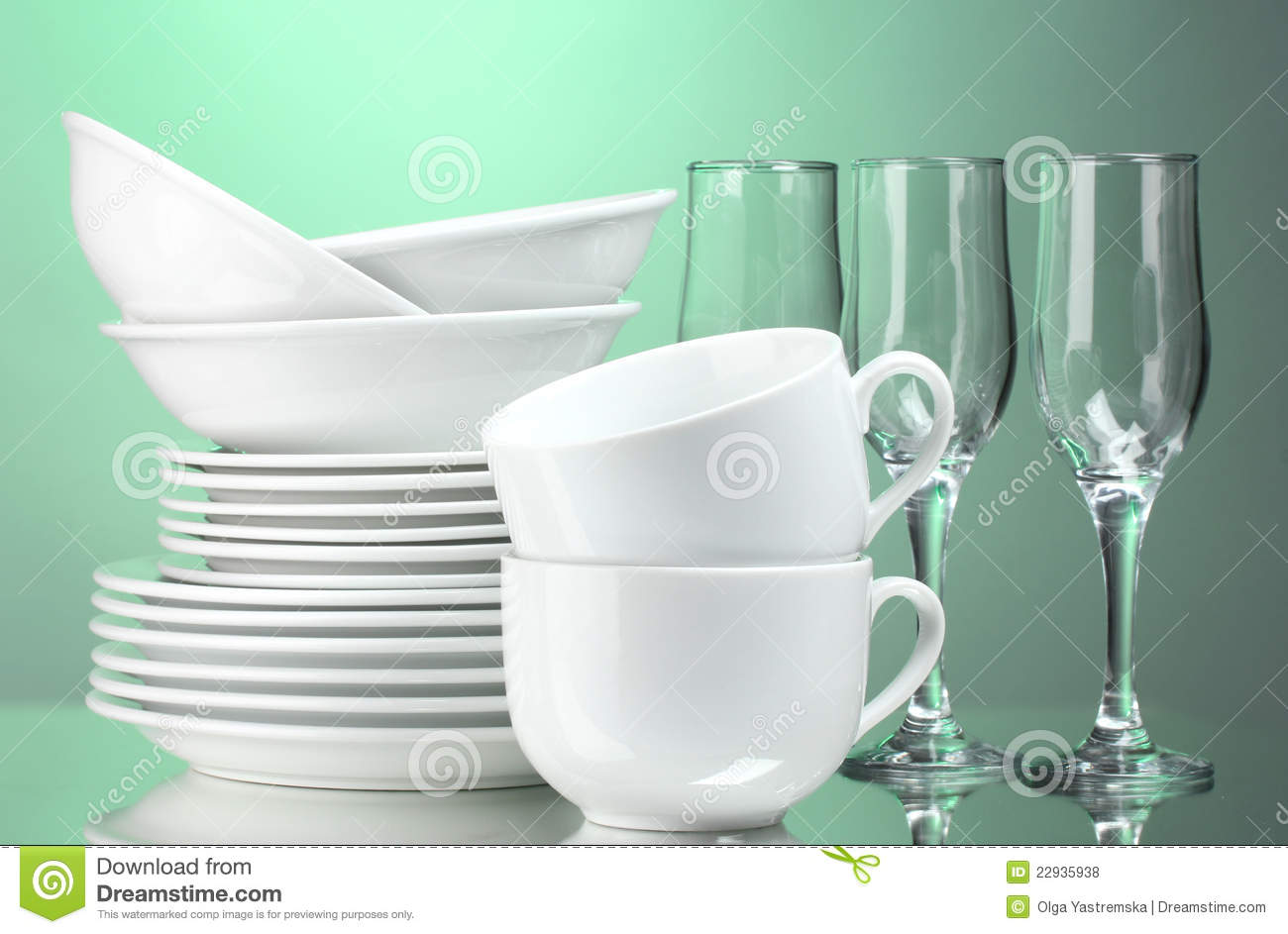 Clean Plates, Cups And Glasses Stock Photo - Image of ...