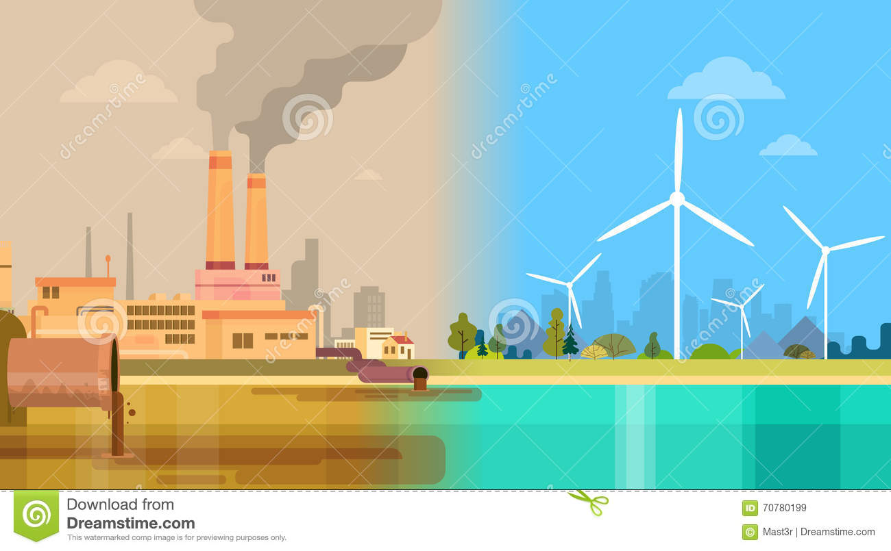 Clean And Polluted Dirty City Environmental Green Energy Concept Wind Stock Vector Image 70780199