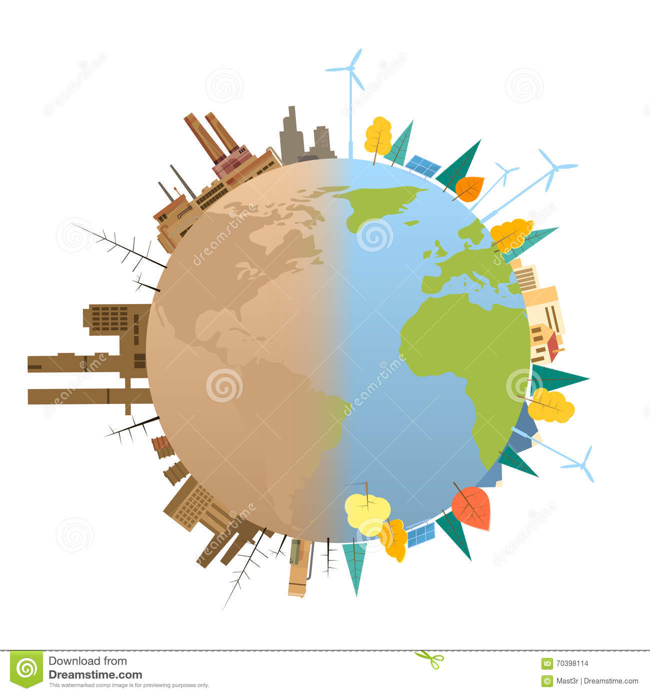Planet Polluted And Environmentally Friendly Plants Vector ...