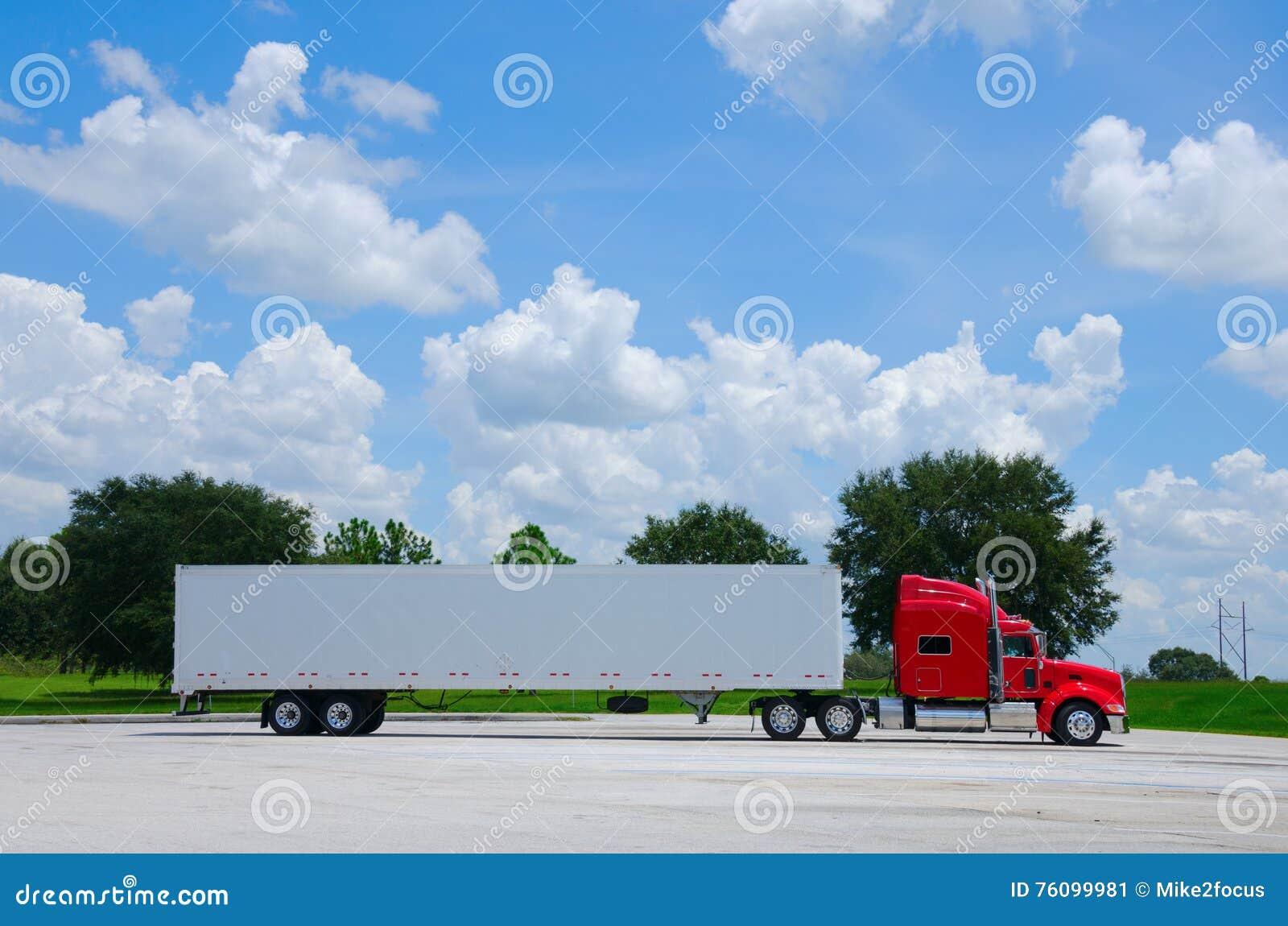 Tractor Trailer Stock : White semi tractor trailer truck royalty free stock