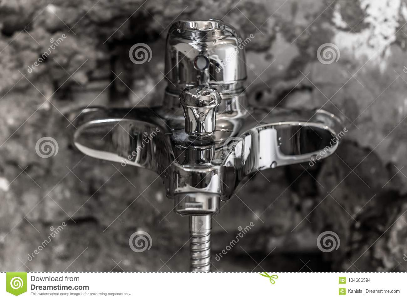 Clean Shiny Wet Metal Bathroom Water Faucet Stock Photo - Image of ...