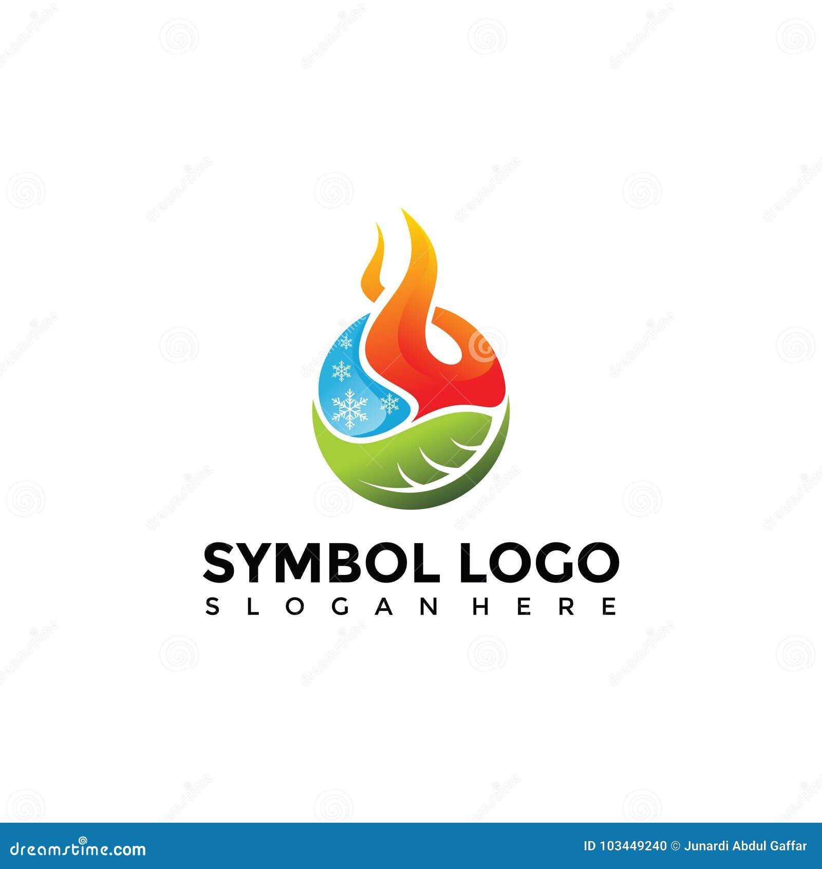 Element Symbol Of Fire Water Nature Logo Template Vector Illu