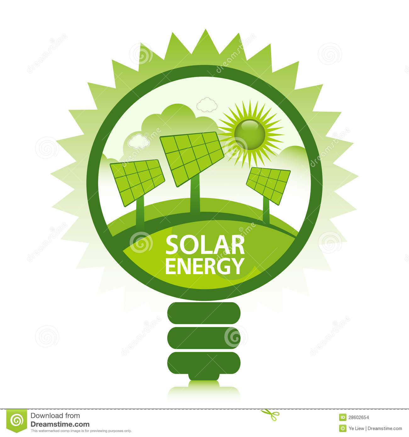 Green eco solar energy design concept. Clean energy generated by the ...