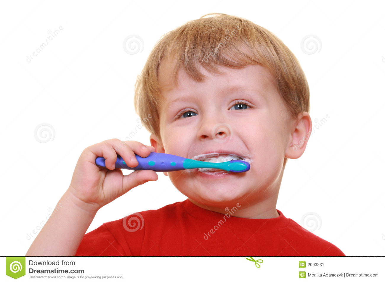 Three years old boy with tooth-brush and toothpaste isolated on white.