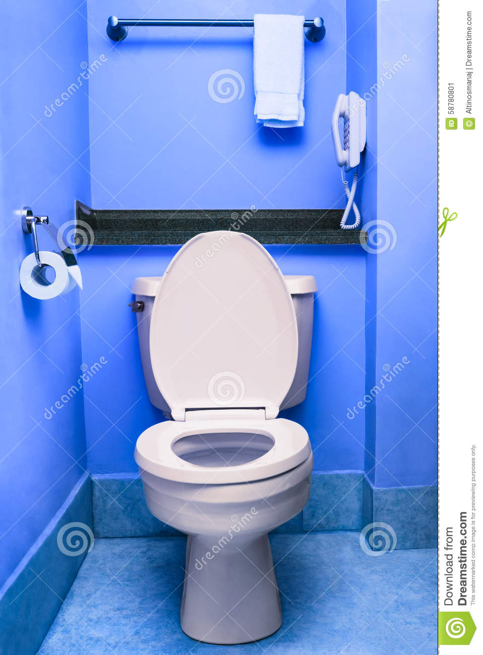 Clean Toilet Seat Bowl Restroom Blue Wc Interior Washroom