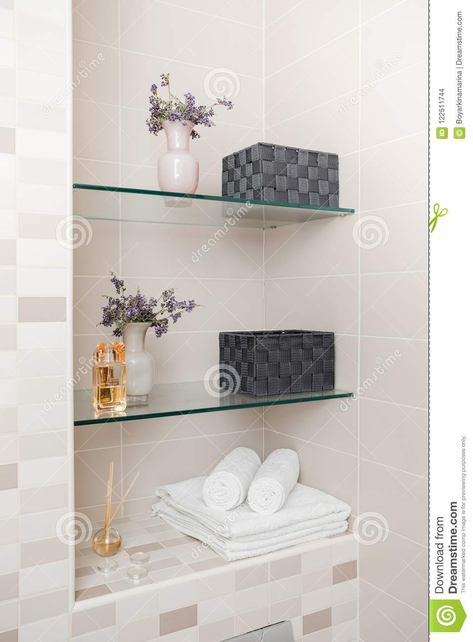 Clean Towels, Flowers And Spa Bath Cosmetic On Bathroom Stock Photo ...