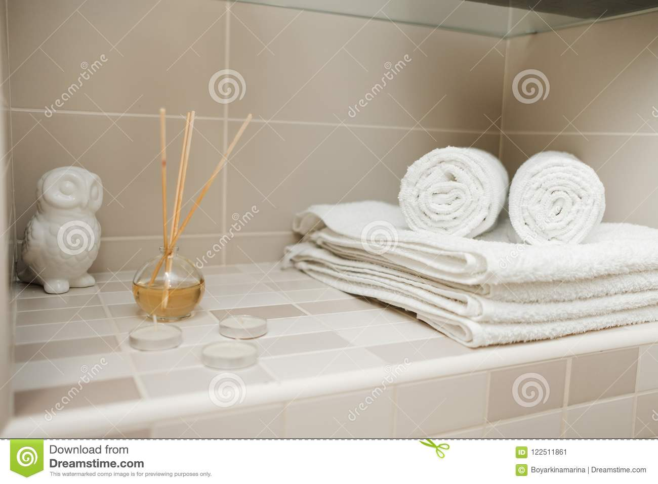 Clean Towels, Flowers And Spa Bath Cosmetic On Bathroom Stock Image ...
