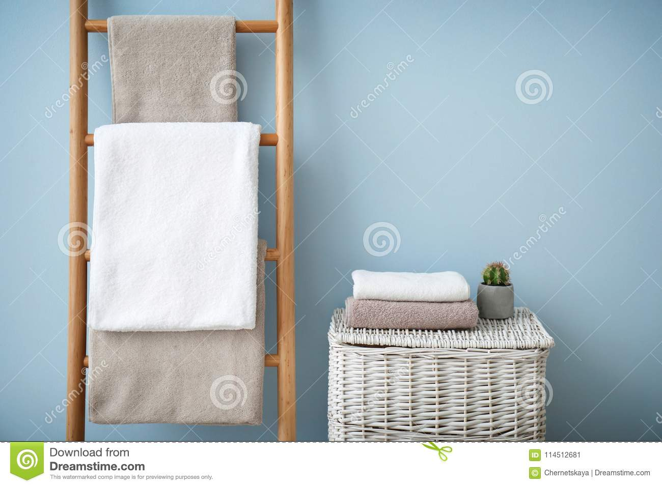 Clean Towels On Holder And Wicker Basket Stock Image - Image of tidy ...
