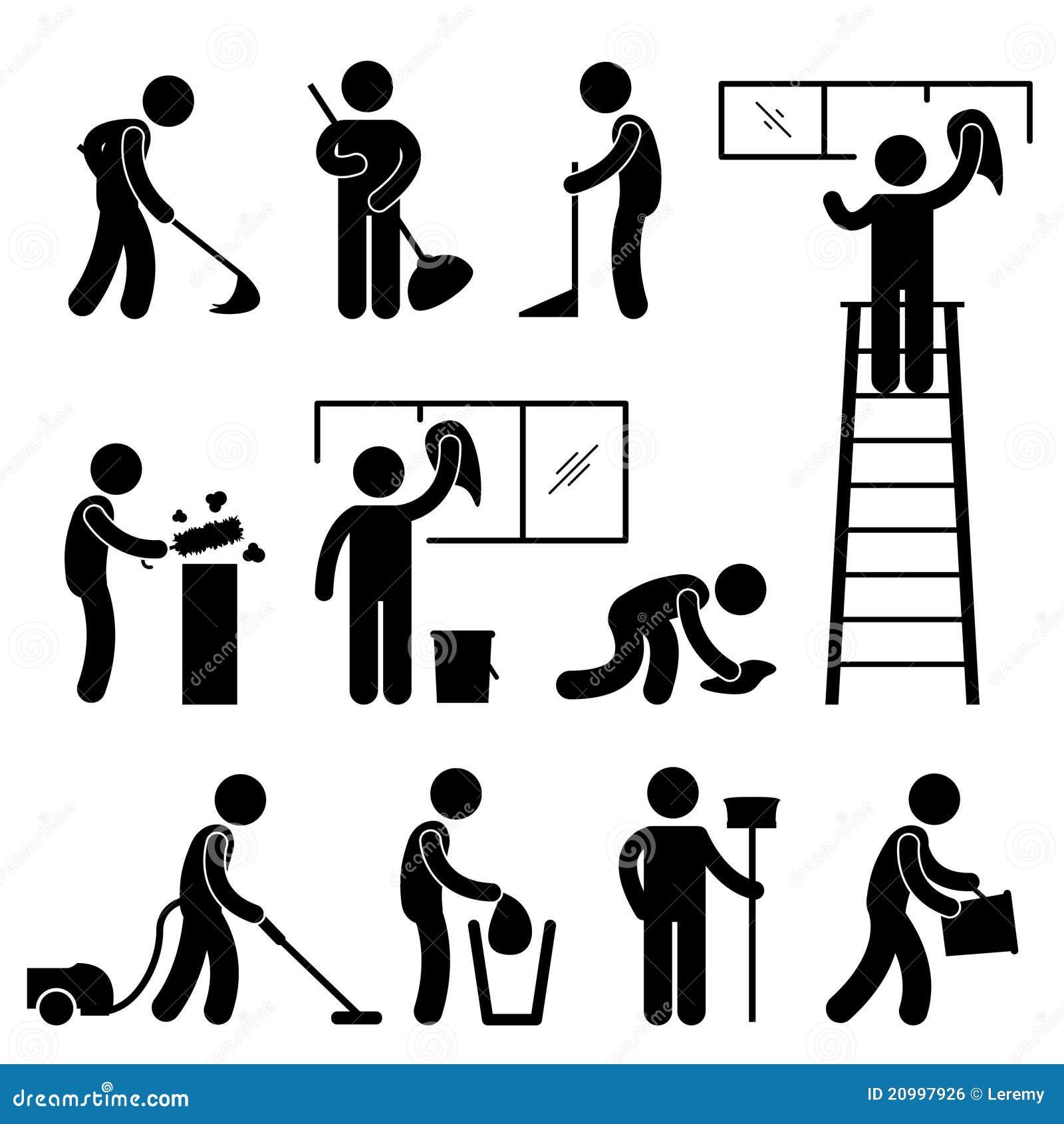 clean wash wipe vacuum cleaner worker pictogram stock. Black Bedroom Furniture Sets. Home Design Ideas