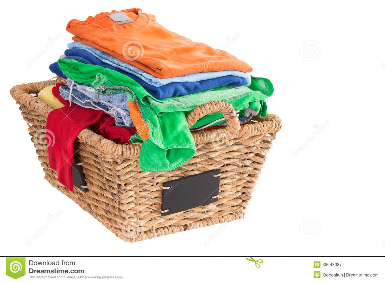 Clean Washed Fresh Summer Clothes In A Basket Stock Image