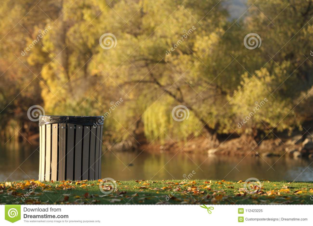 Download An Environmentally Friendly Trash Can At The Park. Stock Image - Image of outdoor, environment: 112423225