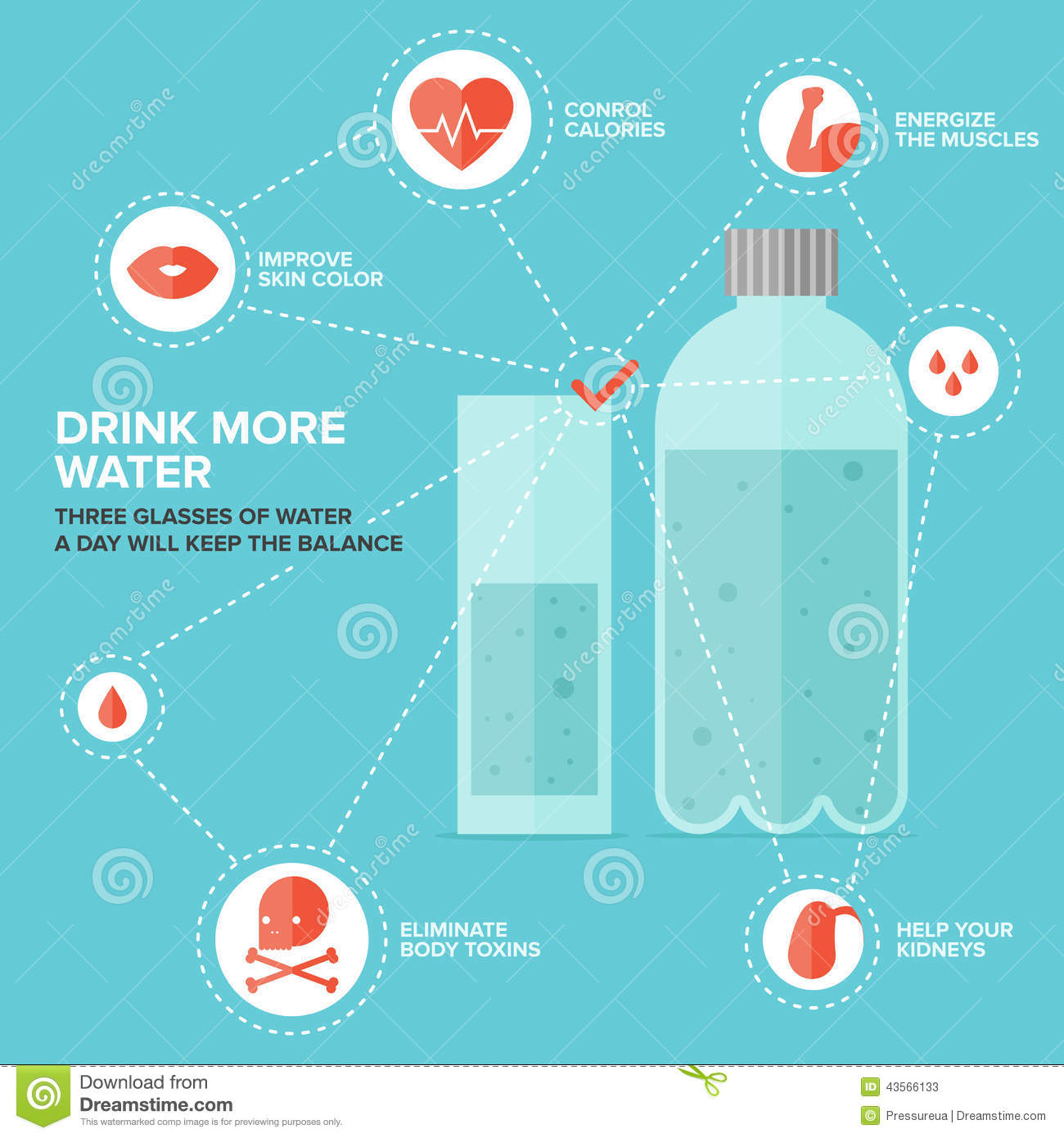 benefits of drinking water infographic stock vector illustration