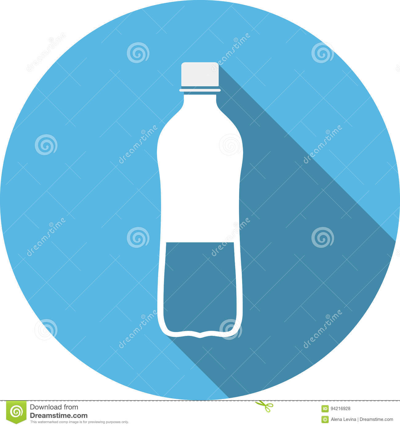 Clean Water With Long Shadow Flat Vector Symbols Stock Vector