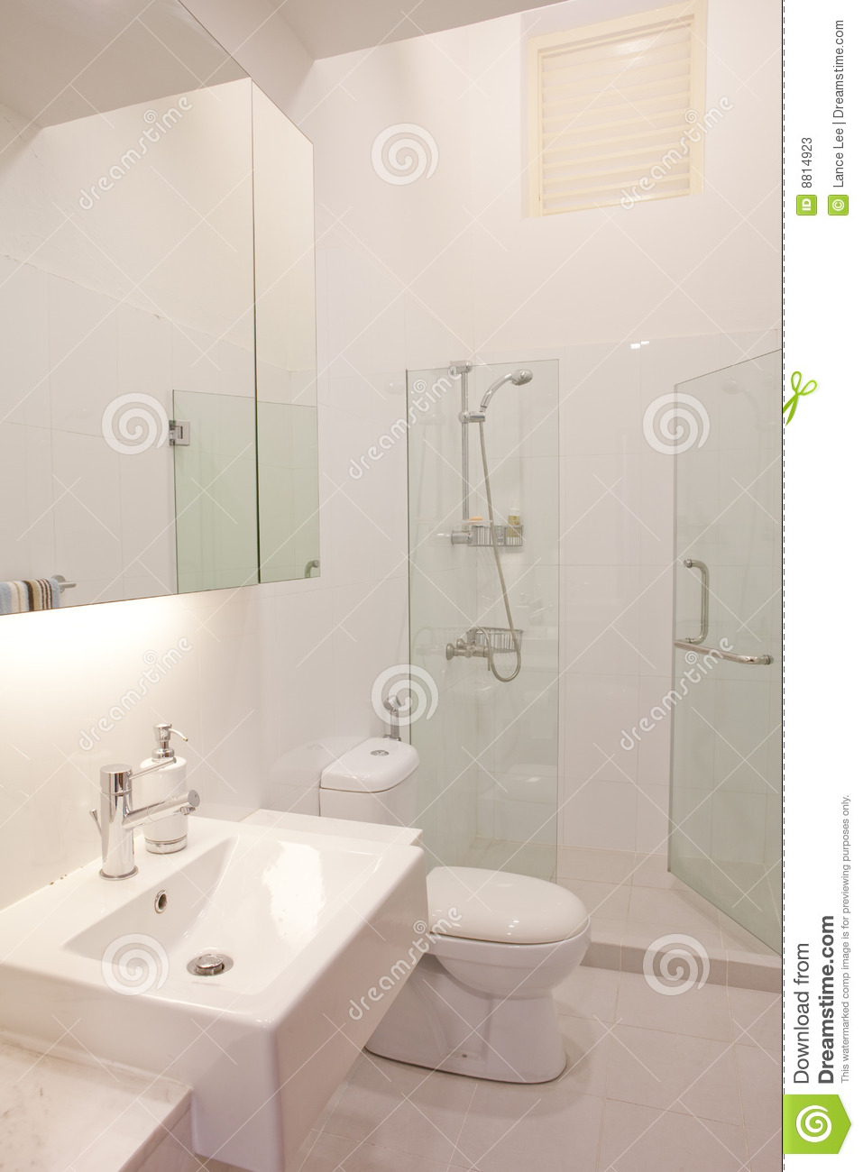 Clean And White Color Modern Classy Bathroom Stock Photos