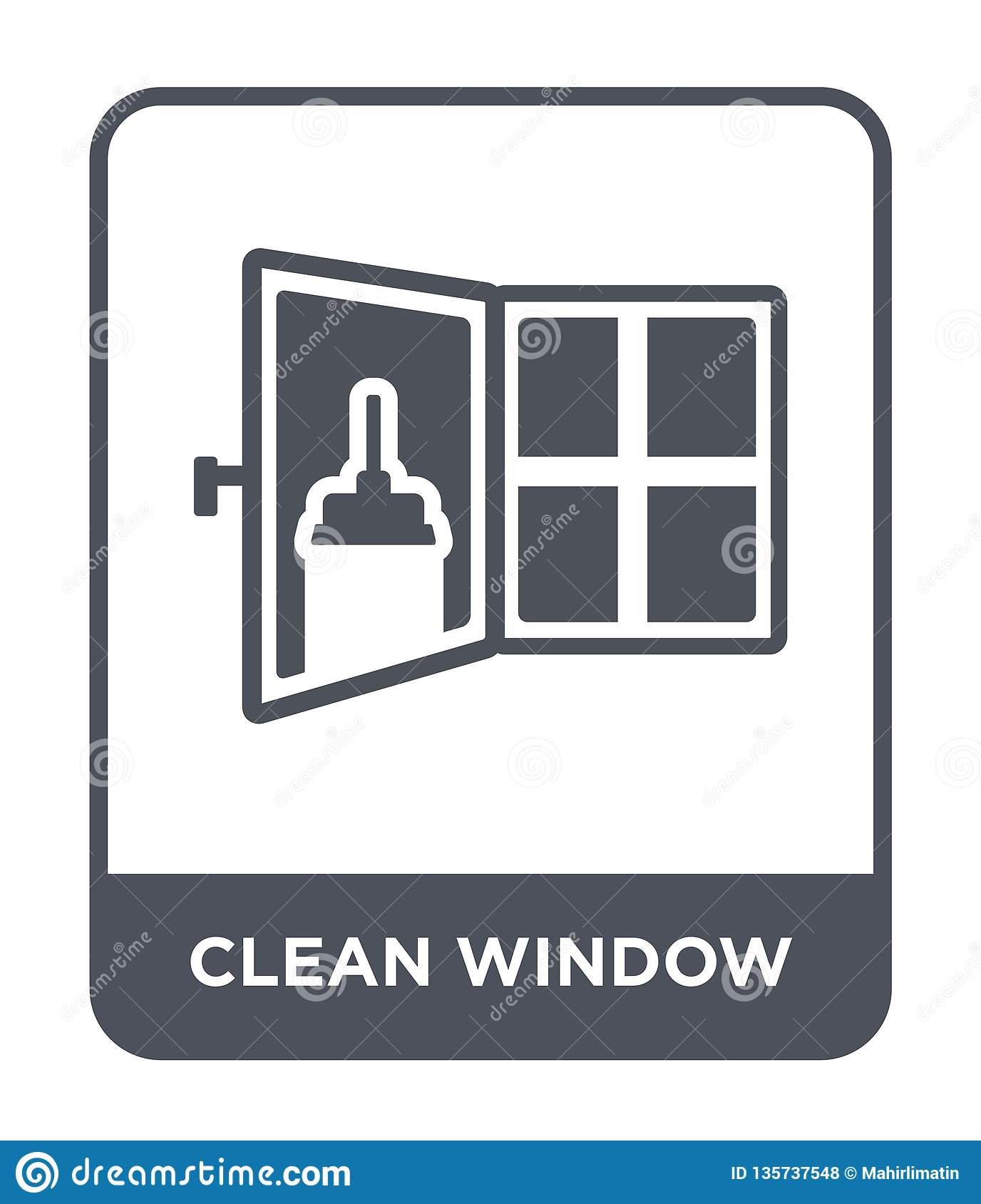 clean window icon in trendy design style. clean window icon isolated on white background. clean window vector icon simple and