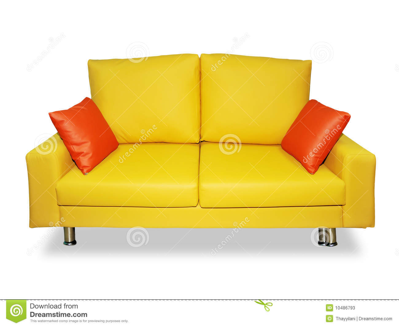 Clean Yellow Sofa And Pillows Stock Image Image 10486793
