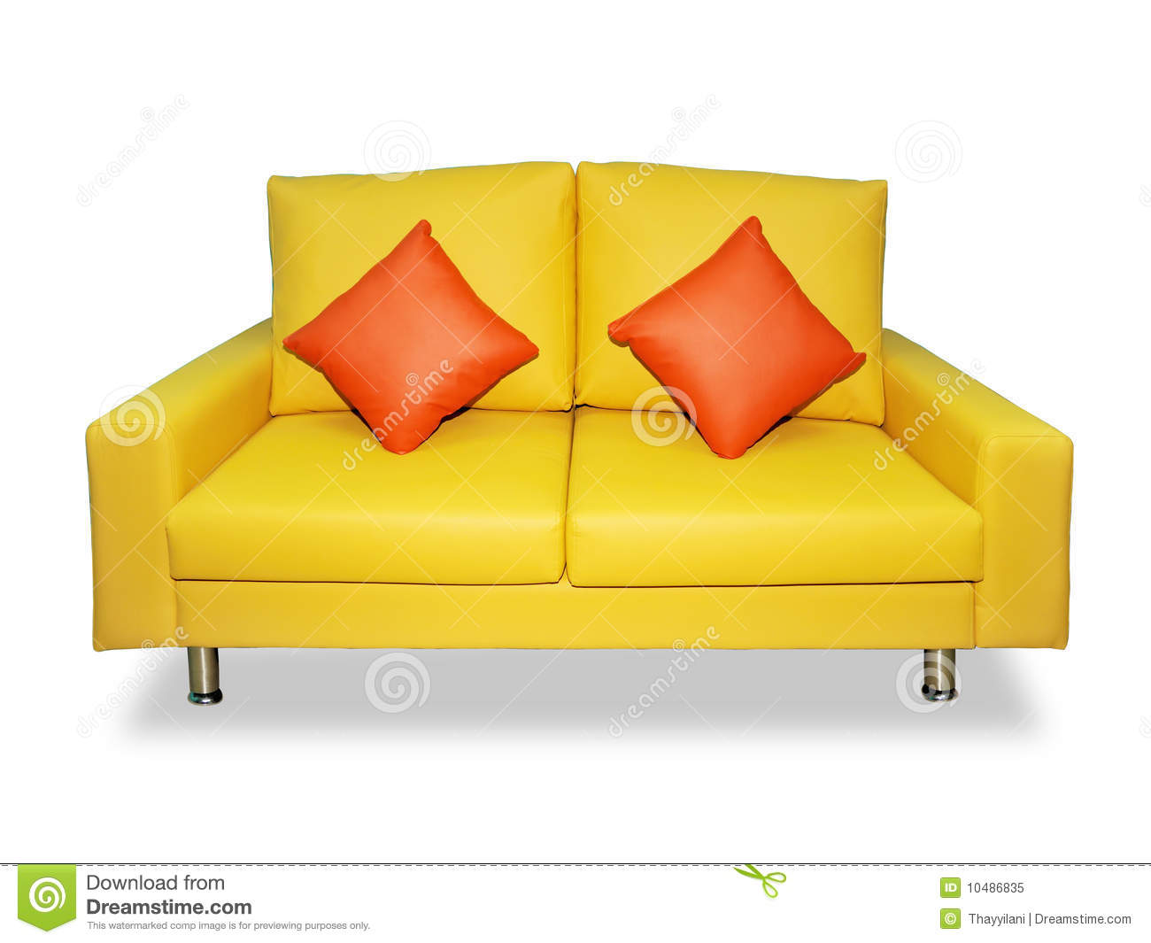 Clean Yellow Sofa And Pillows Stock Image Image Of Laying Green