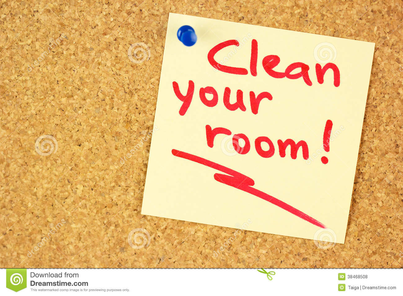 Clean Your Room Sticker On The Cork Royalty Free Stock